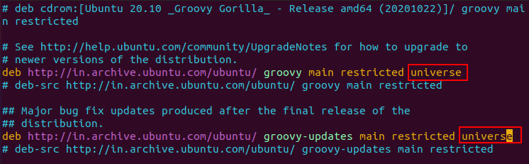 Enable Universe Repository from Commandline