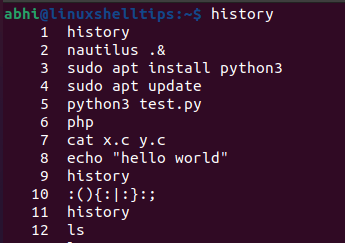 List Last Executed Commands