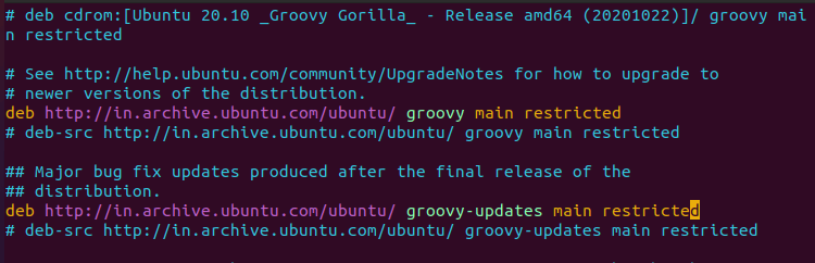 Ubuntu Sources List