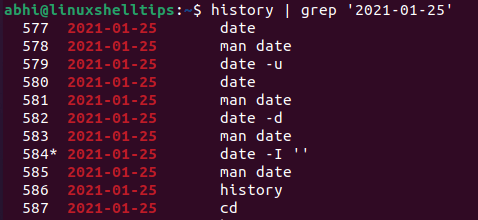 View History Commands by Date