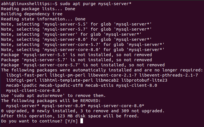 Remove MySQL Server in Ubuntu