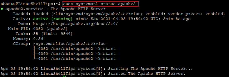 Check Apache Status on Ubuntu
