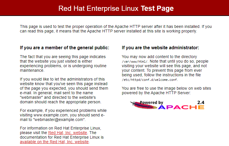 Check Apache Web Page on RHEL