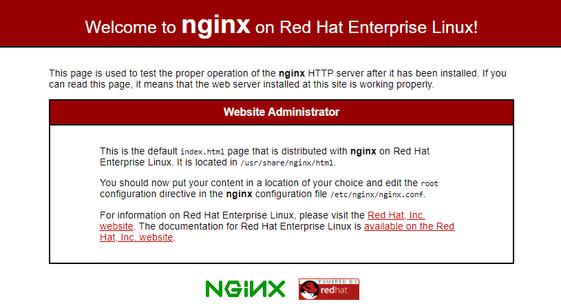 Check NGINX Page on RHEL