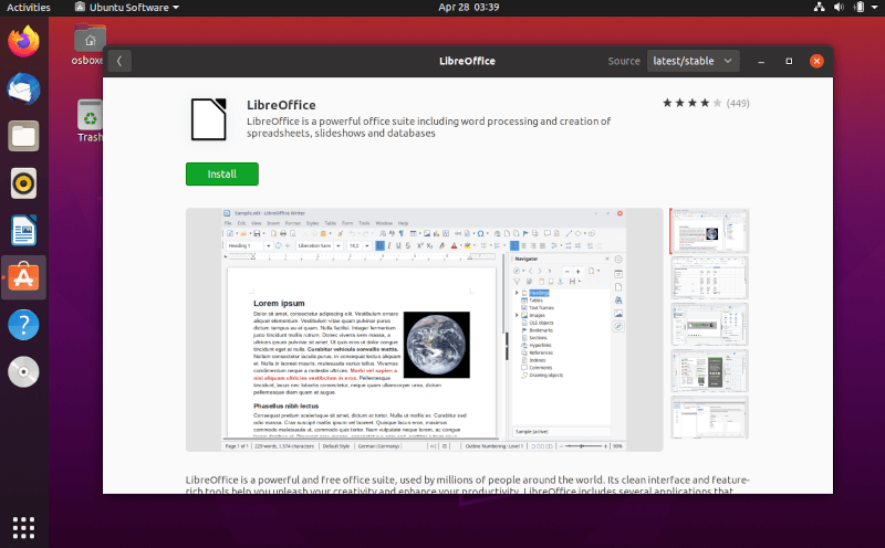 Install LibreOffice from Ubuntu Software