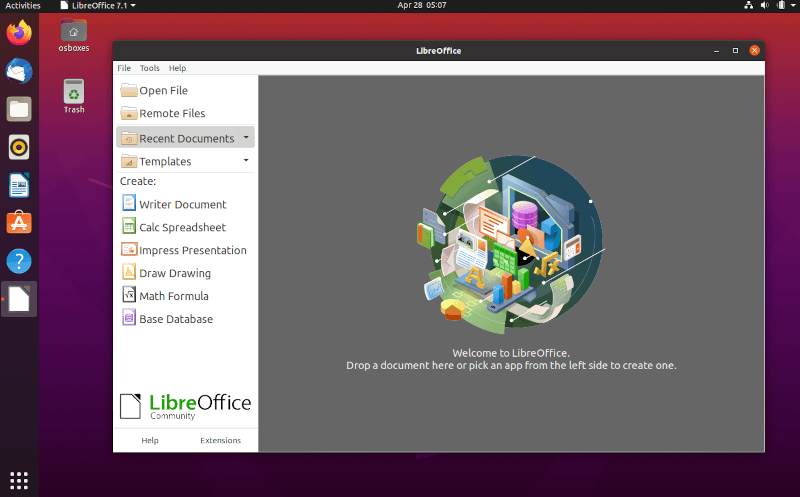 LibreOffice Running in Ubuntu