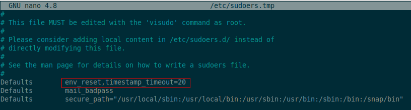 Sudo Timeout Parameter