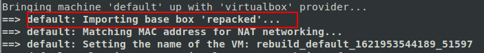 Importing Repacked Vagrant Box