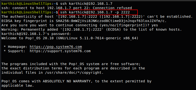 Connect to SSH On Different Port
