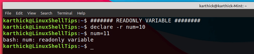 Declaring ReadOnly Variable