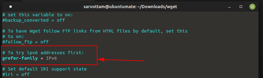 Set Wget to Use IPv6 by Default