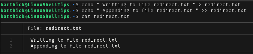 Redirecting Output to File