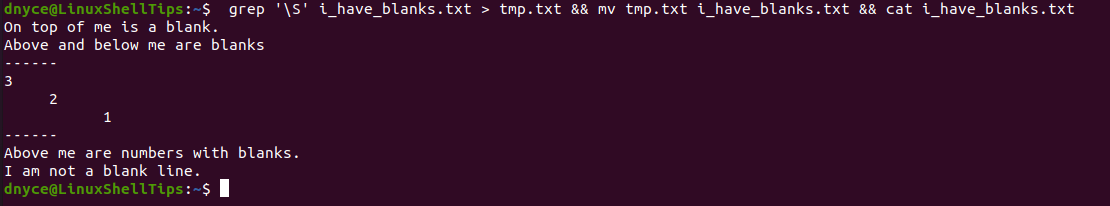Remove Blank Lines in File Using Grep