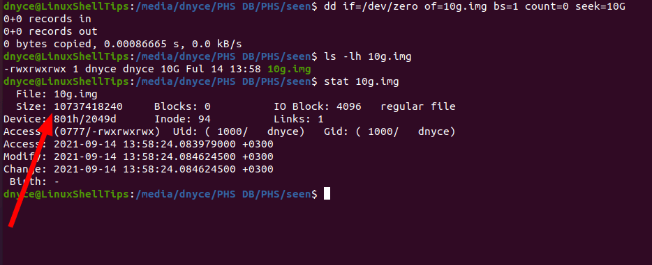 Check File Size in Linux