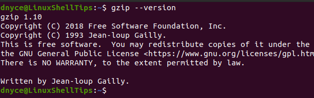 Check Gzip Version in Linux