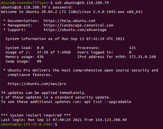 Connect to Linux Using SSH