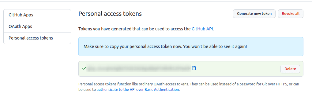 Personal Access Token Generated
