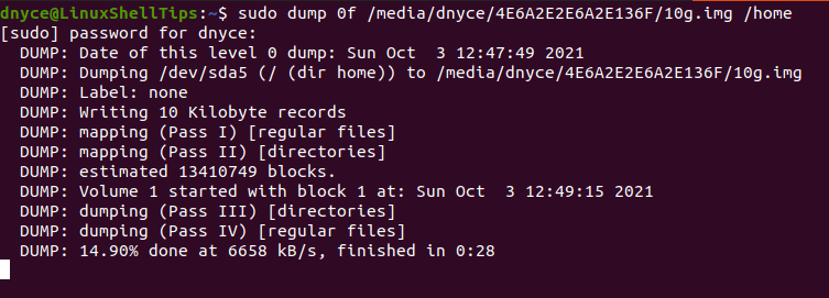 Backup Linux Data to File
