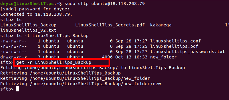 Download Remote Directory Using sFTP